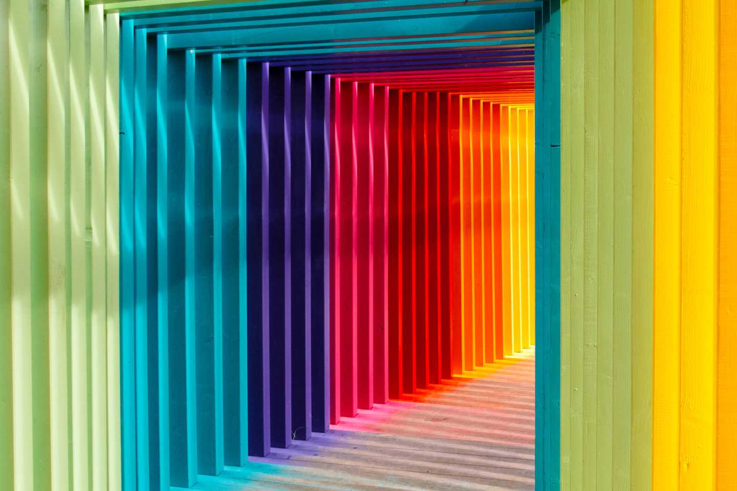 A brightly colored tunnel.